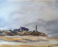 Winter, Ostsee, Leuchtturm, Malerei