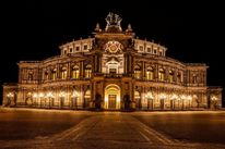Theaterplatz, Wald, Dresden, Nacht