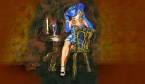 Blau, Menschen, Dame, Hut