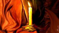 Feuer, Gegenstände, Kerzen, Tuch
