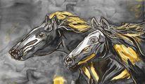 Reiten, Galopp, Malerei, Pferde