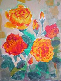 Gemälde, Rose, Acrylmalerei, Blumen