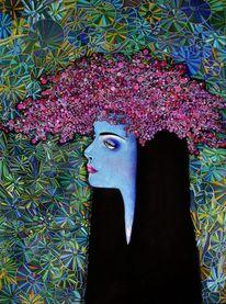 Frau, Weiblichkeit, Grafik, Blumen