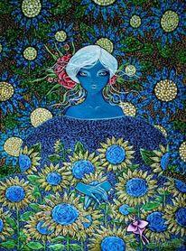 Fantasie, Hitze, Kleid, Sonnenblumen