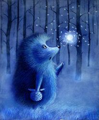 Baum, Blau, Pusteblumen, Löwenzahn