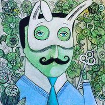 Schnurrbart, Maske, Schlüssel, Krawatte
