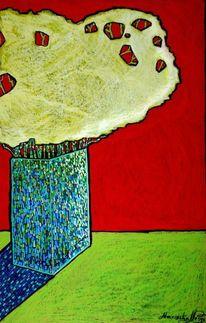 Stillleben, Grün, Blumen, Rot