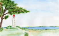 Landschaft, Leuchtturm hiddensee, Aquarell, Hiddensee