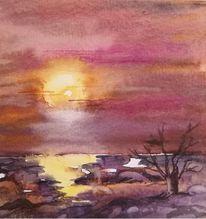 Abend, Landschaft, Himmel, Aquarell