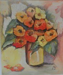 Mischtechnik, Aquarell, Blumen