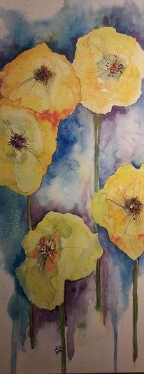 Blüte, Gelb, Natur, Aquarell