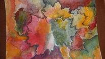 Aquarellmalerei, Herbst, Buntstiftzeichnung, Mischtechnik