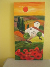 Abendrot, Mohn, Toskana, Malerei