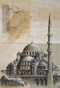 Architektur, Illustrationen, Architektur mensch, Moschee