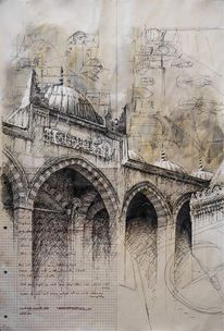 Architektur, Illustrationen, Architektur mensch, Istanbul