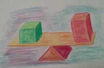 Dreieck, Gleichgewicht, Wippen, Aquarellmalerei