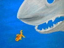 Unterwasser, Acrylmalerei, Goldfisch, Hai