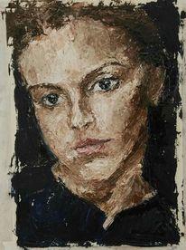 Mädchen, Ölmalerei, Jung, Melanchonisch