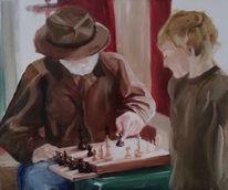 Portrait, Schach, Gesicht, Schachbrett
