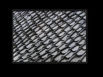 Dachziegel, Schwarzweiß, Dach, Struktur