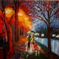 Regen, Paar, Acrylmalerei, Kanal