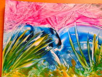 Gras unterwasser, Malerei, Unterwasser