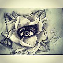 Rose, Augen, Blumen, Zeichnung