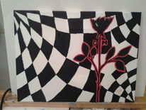 Acrylmalerei, Depeche mode, Weiß, Rot schwarz