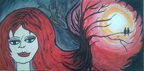 Acrylmalerei, Baum, Menschen, Vogel