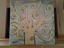 Malerei, Baum gold, Abstrakt, Natur
