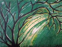 Acrylmalerei, Gelb, Abstrakt, Baum