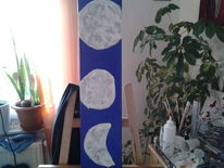 Abstrakt, Blau, Mond, Malerei