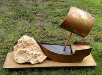 Schiff gestrandet, Stahl, Stein, Skulptur