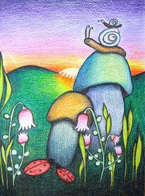 Zauberpilze, Blüte, Schnecke, Sonnenuntergang