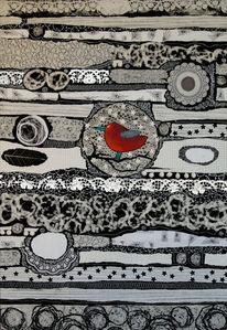 Vogel, Weiß, Rot schwarz, Collage