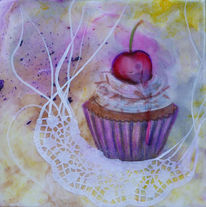 Cupcake, Torte, Mixed media, Mischtechnik
