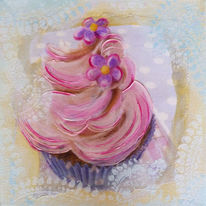Cupcake, Mixed media, Pastellmalerei, Torte