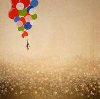 Ballon, Freiheit, Feld, Fliegen