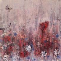 Rot, Blumen, Wiese, Malerei