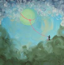 Acrylmalerei, Mond, Himmel, Fantasie