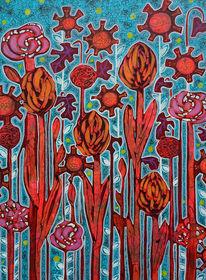 Rot, Blumen, Blüte, Malerei