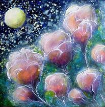 Nacht, Acrylmalerei, Mond, Blüte