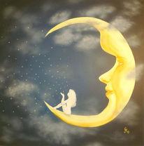 Acrylmalerei, Himmel, Nacht, Stern