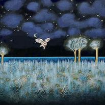 Nacht, Schneeeule, Landschaft, Malerei