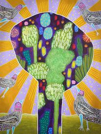 Strahlen, Friedensvögel, Baum, Malerei