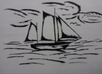 Segelschiff, Tusche, Mischtechnik