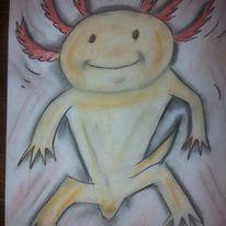 Kreide, Zeichnung, Axolotl, Kreidezeichnung