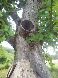 Ölmalerei, Baum, Loch, Digital