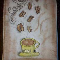 Kohlezeichnung, Kaffeebohnen, Kreide, Tasse