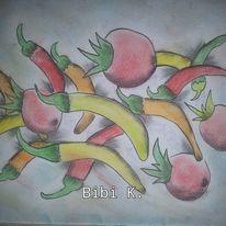 Stillleben, Tomate, Paprika, Zeichnungen